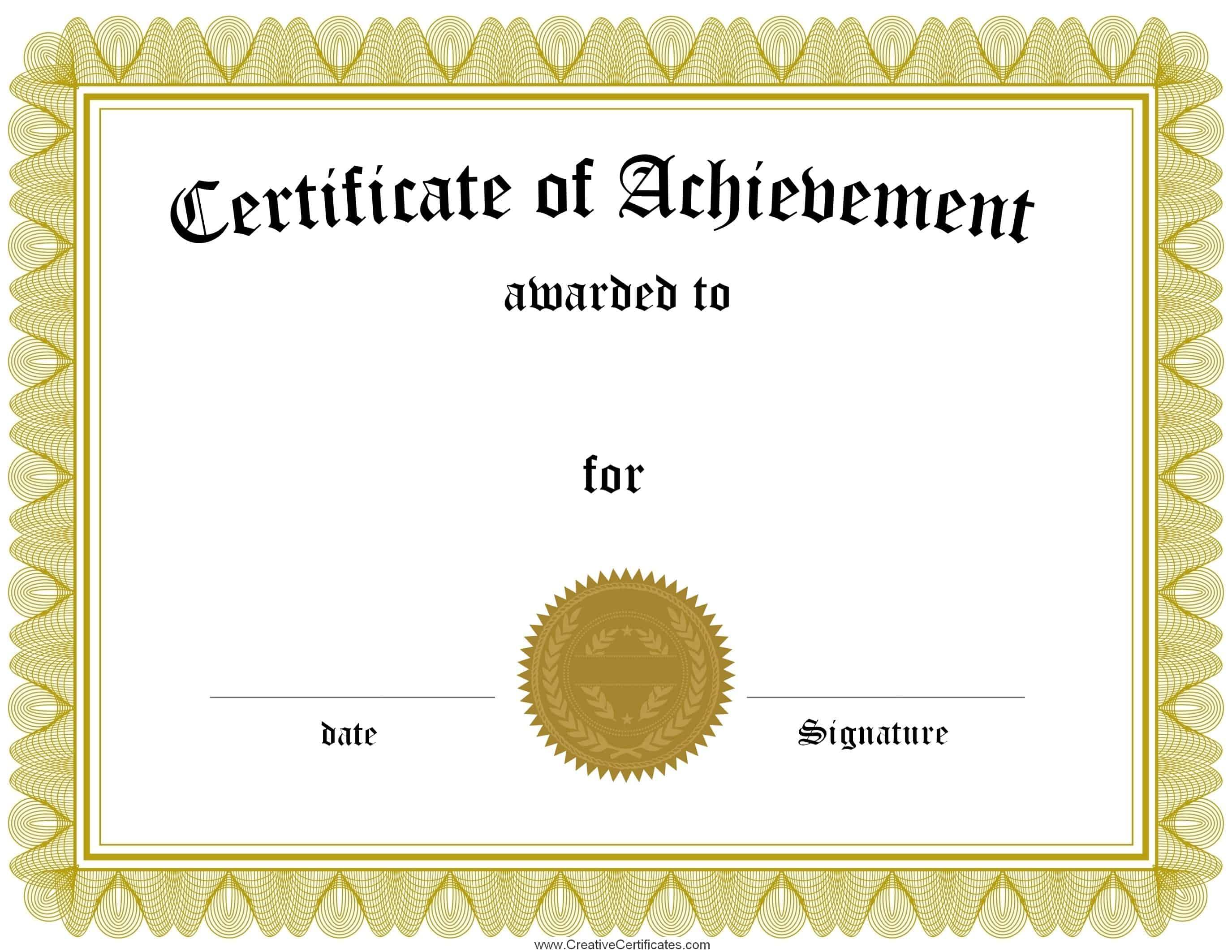 001 Free Printable Certificates Of Achievement Certificate Template - Free Customizable Printable Certificates Of Achievement