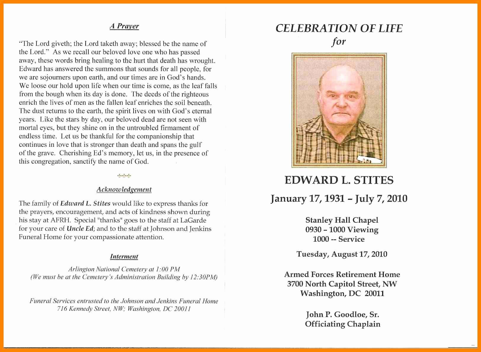 002 Celebration Of Life Program Template Free Printable Memorial - Free Printable Memorial Card Template