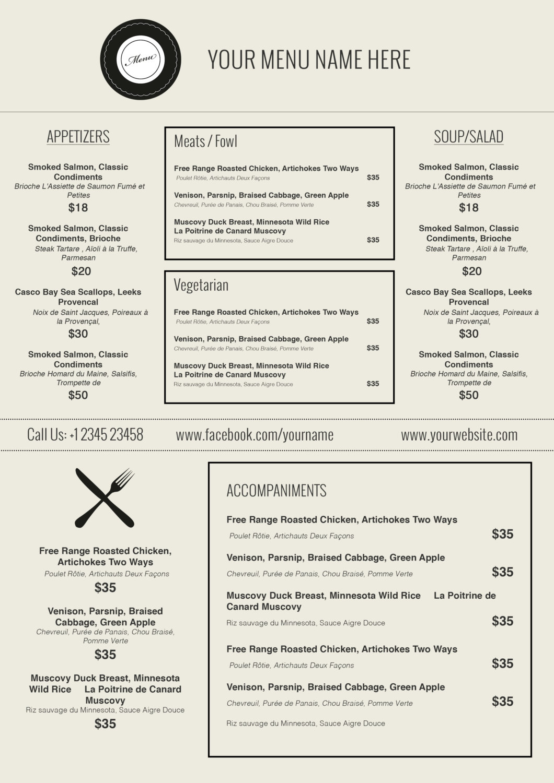 002 Free Menu Template For Word Ideas Friench Food In ~ Ulyssesroom - Free Printable Menu Templates Word