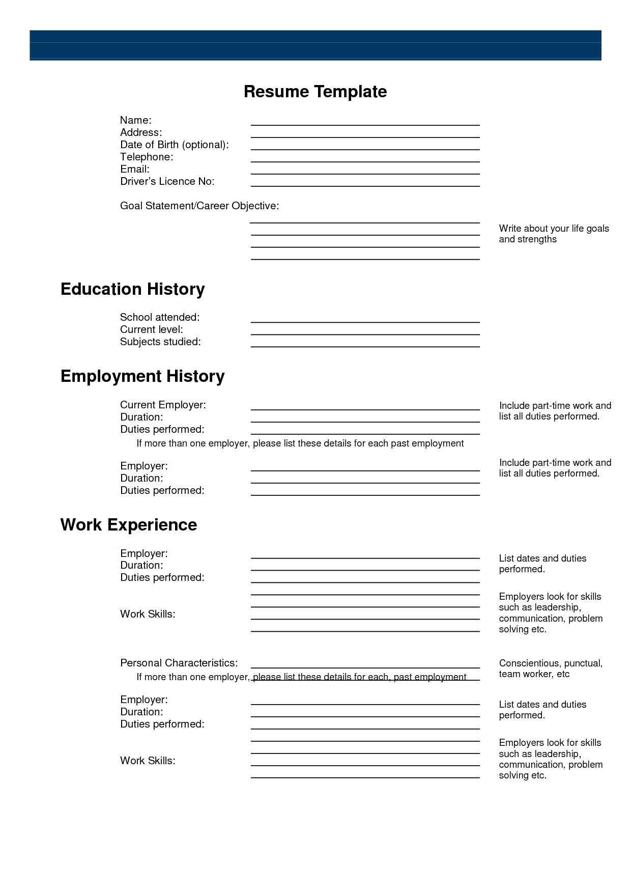 003 Resume Templates Free Printable Template ~ Ulyssesroom - Free Printable Resume