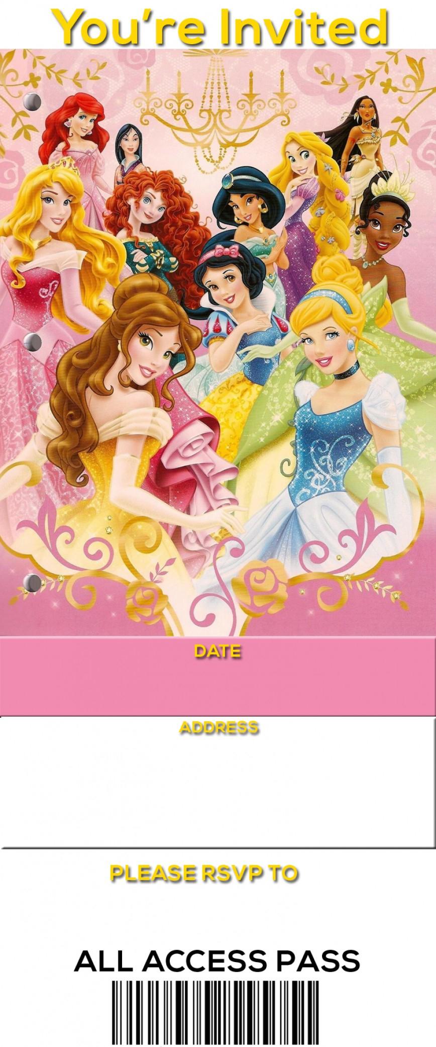 004 Free Printable Disney Princess Ticket Birthday Invitation - Disney Princess Free Printable Invitations