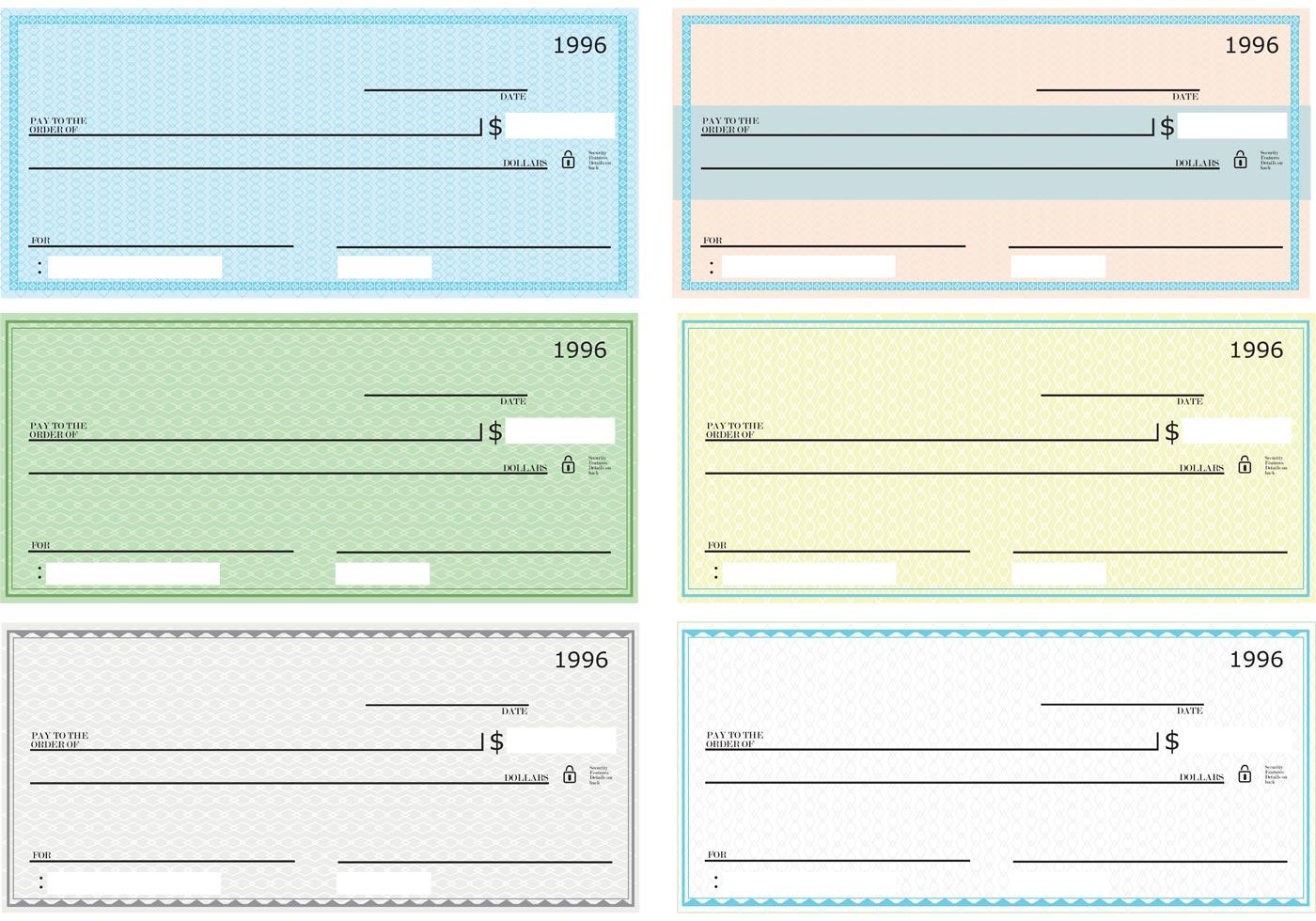 005 Blank Check Vector Pack Template Pdf ~ Ulyssesroom - Free Printable Checks Template