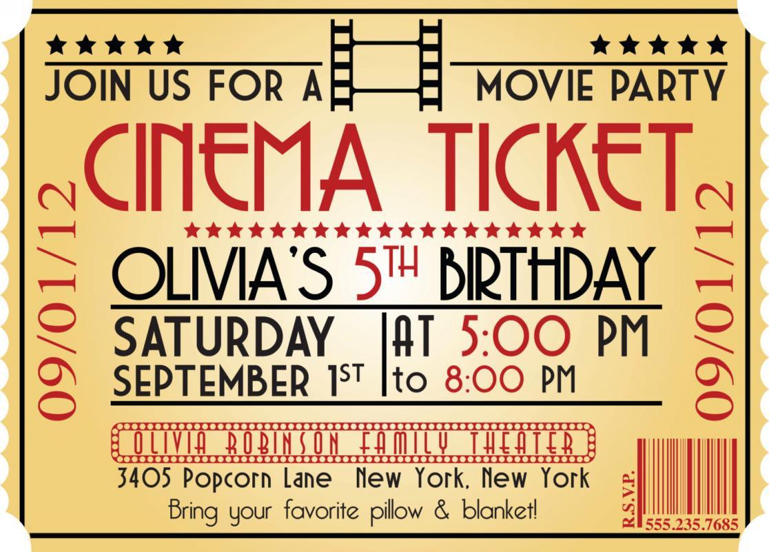 005 Movie Ticket Invitation Template Free Night Birthday Invitations - Free Printable Movie Ticket Birthday Party Invitations