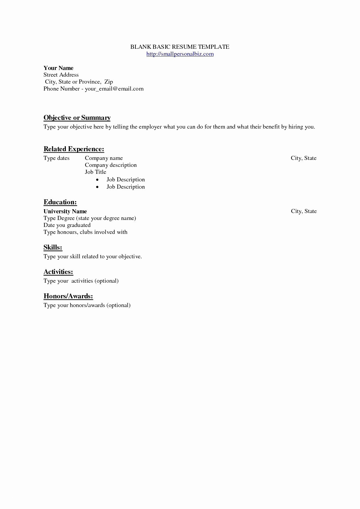 005 Template Ideas Blank Basic Resume Templates Beautiful College - Free Printable College Degrees
