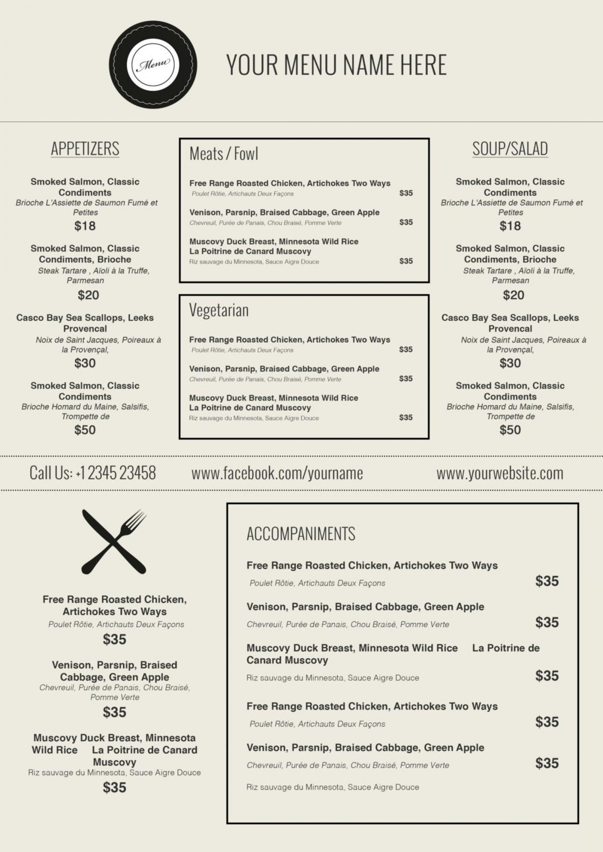 005 Template Ideas Free Printable Restaurant Menu Templates - Menu Template Free Printable Word