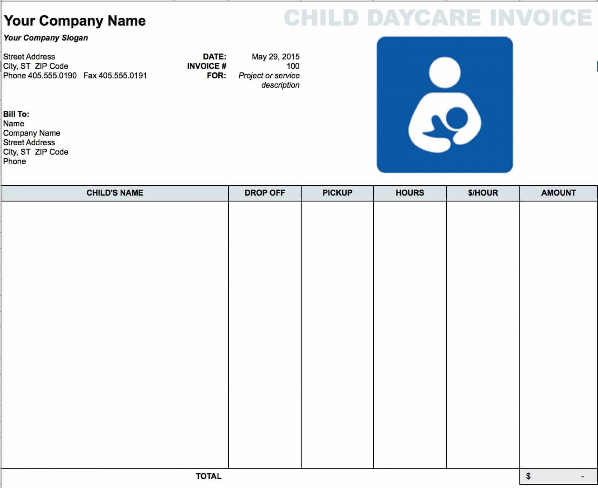 006 Child Care Receipt Template Ideas Daycare Invoice Microsoft - Free Printable Daycare Receipts