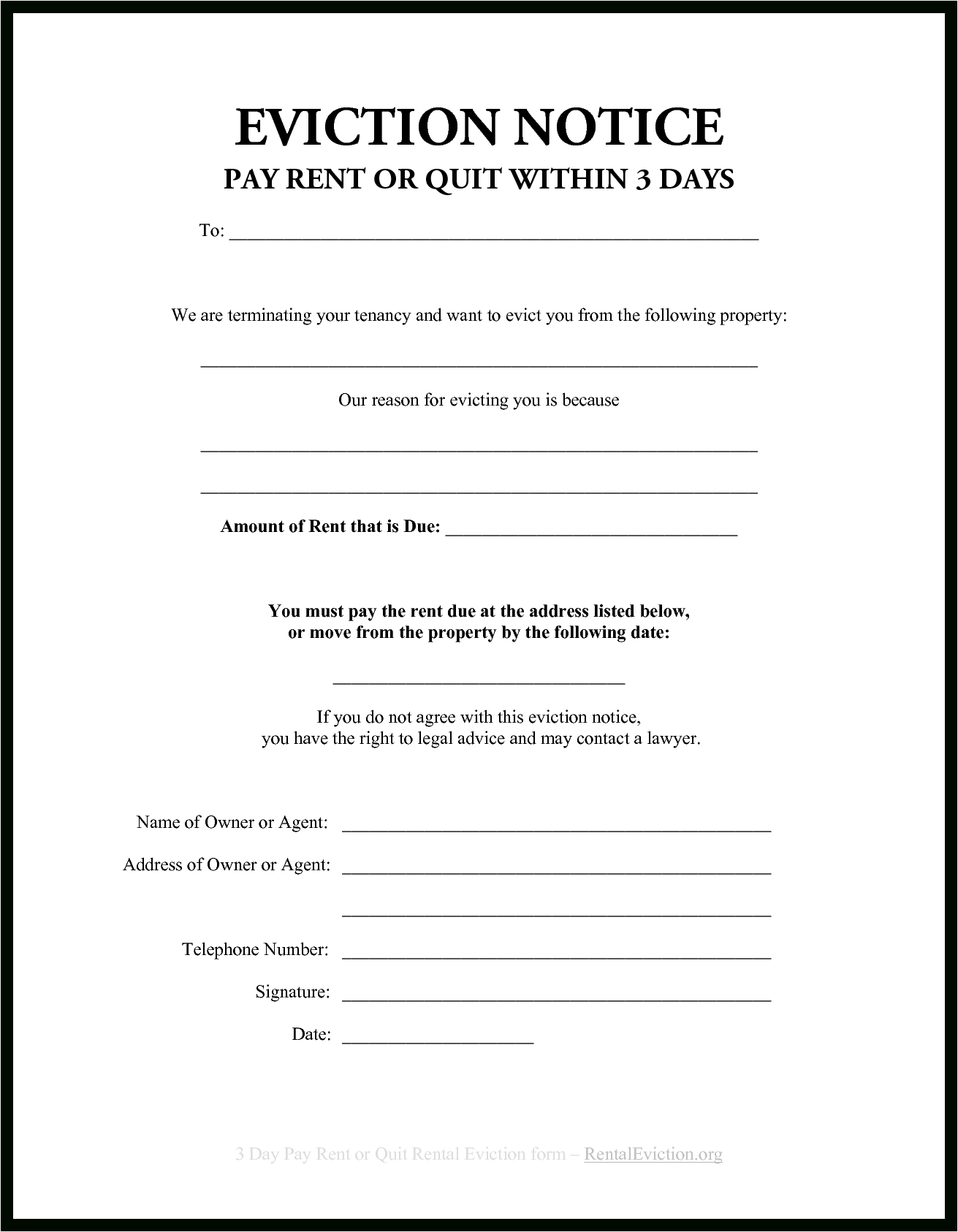 006 Template Ideas Day Eviction Notice Best Images Of Free Ohio - Free Printable Blank Eviction Notice