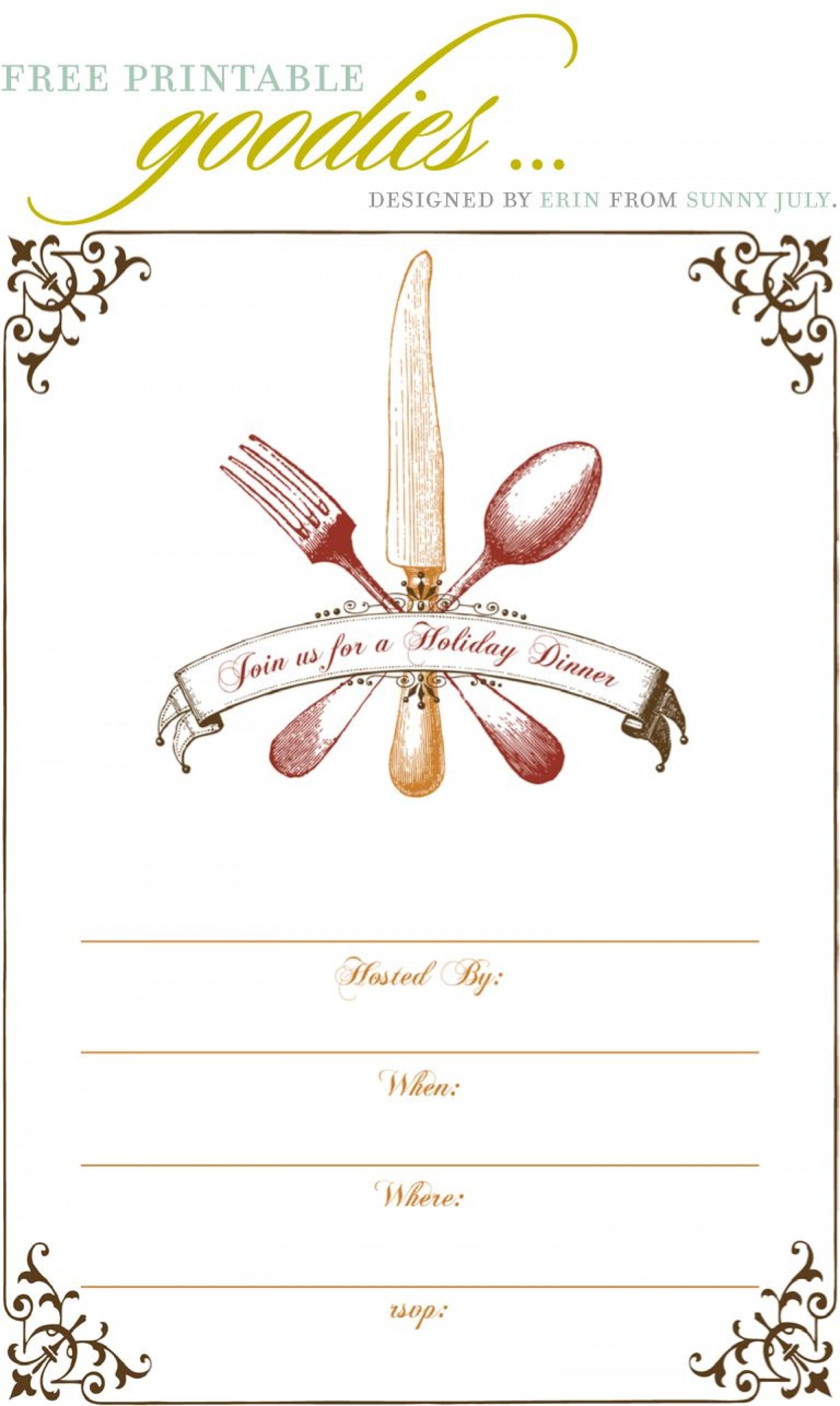 009 Free Dinner Invitation Templates Template ~ Ulyssesroom - Free Printable Thanksgiving Dinner Invitation Templates