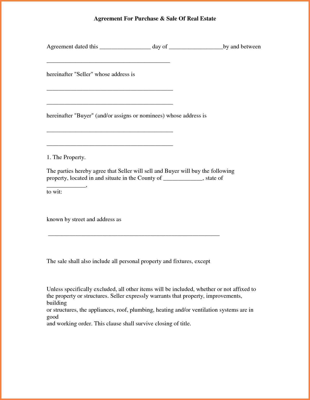013 Simple Land Purchase Agreement Form Free Printable Real Estate - Free Printable Real Estate Purchase Agreement