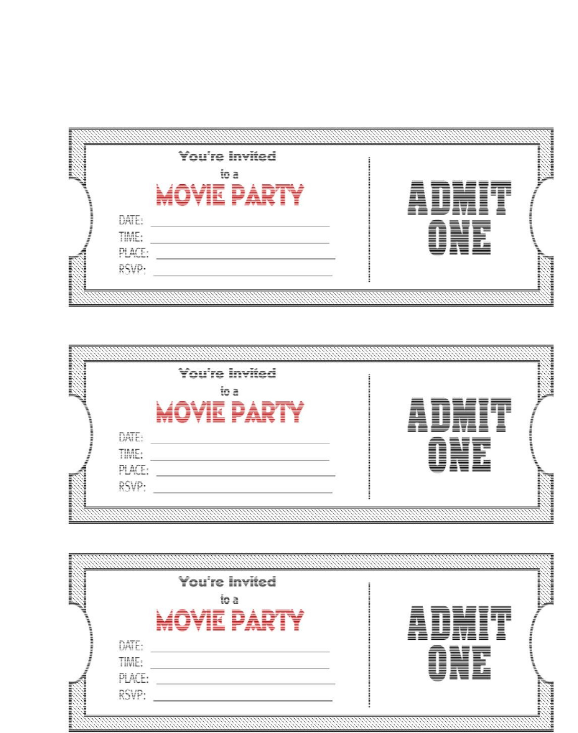 015 Template Ideas Printable Movie Ticket Blank Birthday Invitations - Free Printable Movie Themed Invitations