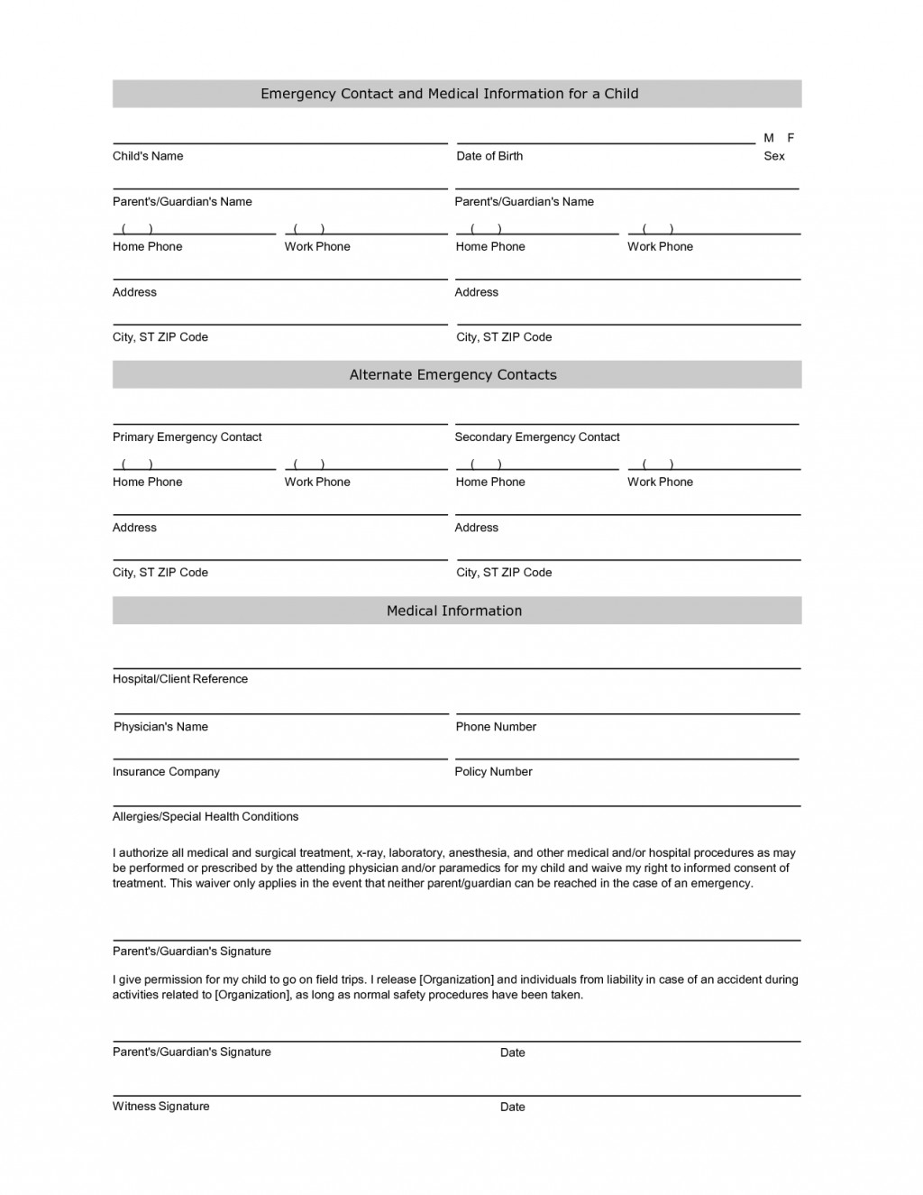 016 Free Student Information Sheet Template Emergency Contact - Free Printable Parent Information Sheet