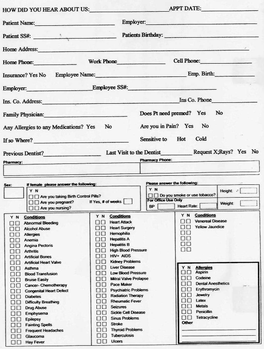 016 Patient Medical History Form Template New Printable Office Forms - Free Printable Personal Medical History Forms