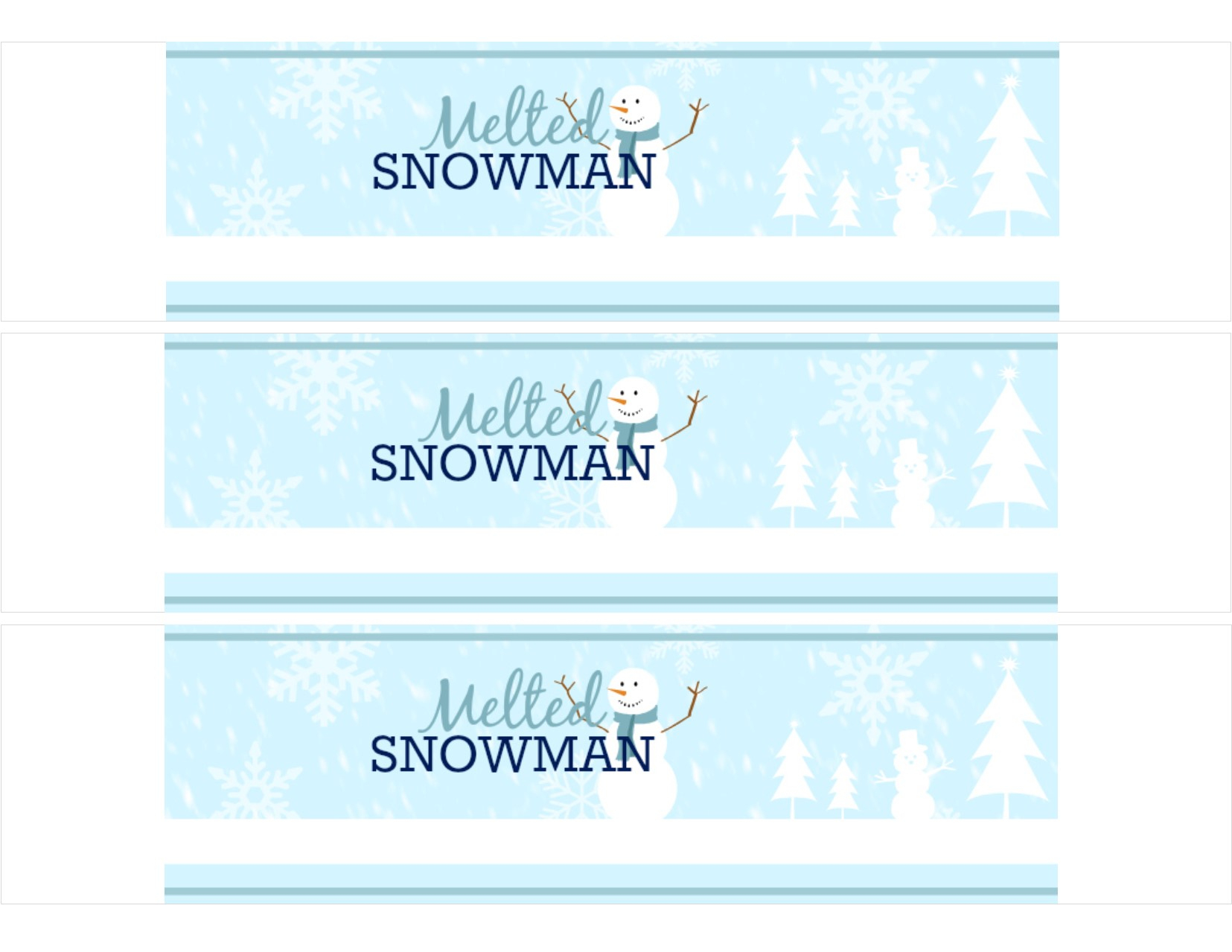 018 Meltedsnowmanbottledwaterwrap Final Template Ideas Bottle Label - Free Printable Water Bottle Label Template