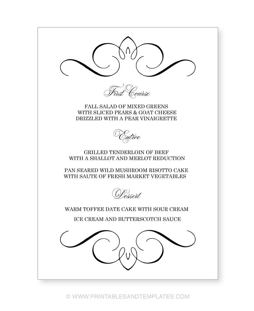 018 Menu Template Free Printable Wedding Templates Ideas For - Free Printable Menu