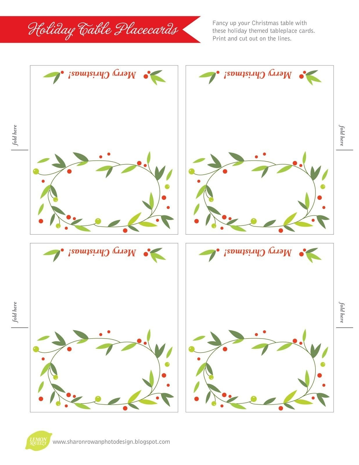 020 Template Ideas Free Printable Lemon Squeezy Day Place Cards - Free Printable Christmas Table Place Cards Template