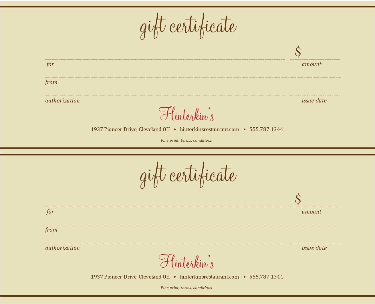 023 Restaurant Gift Certificate Template 121364 Printable - Free Printable Gift Certificates For Hair Salon