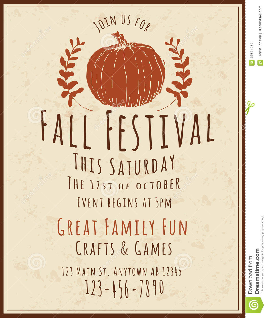 025 Event Flyer Template Free Ideas Fall Festival Simple Retro Hand - Free Printable Fall Flyer Templates