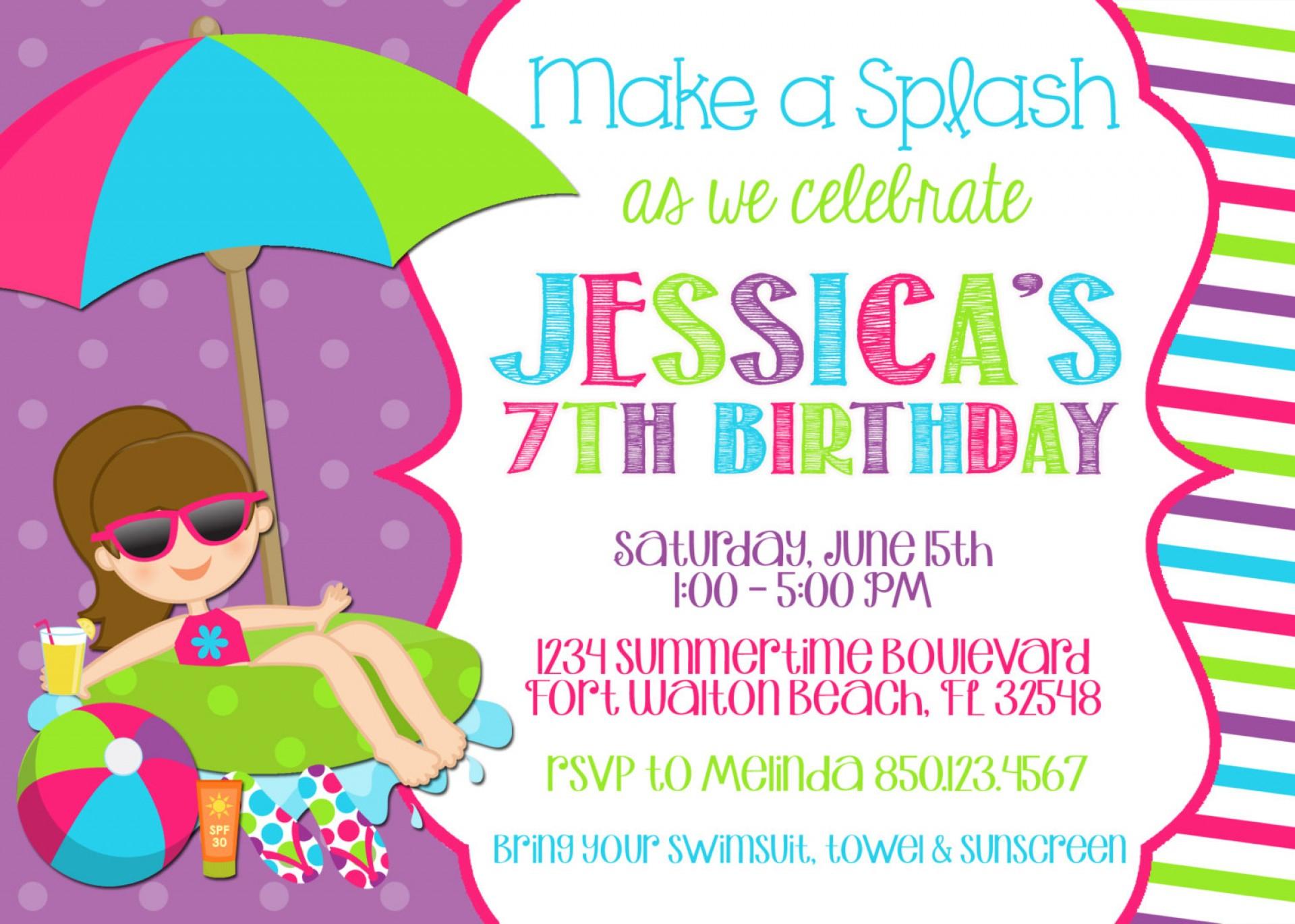 026 Birthday Invitation Templates Free Printable Template Ideas Pool - Free Printable Pool Party Birthday Invitations