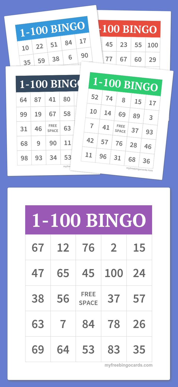 1-100 Bingo | Party Games | Pinterest | Bingo, Bingo Cards And Free - Free Printable Bingo Cards 1 100
