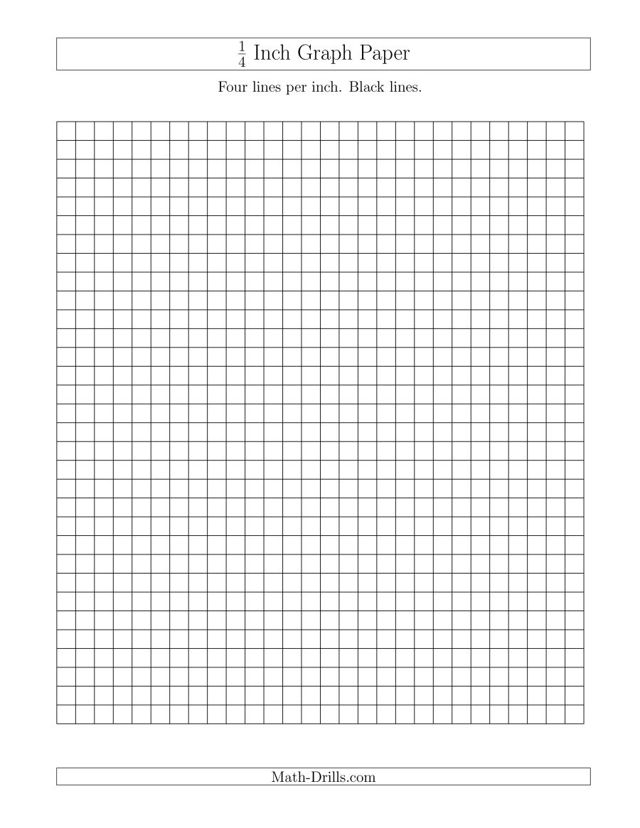 1/4 Inch Graph Paper With Black Lines (A) - Free Printable Graph Paper 1 4 Inch