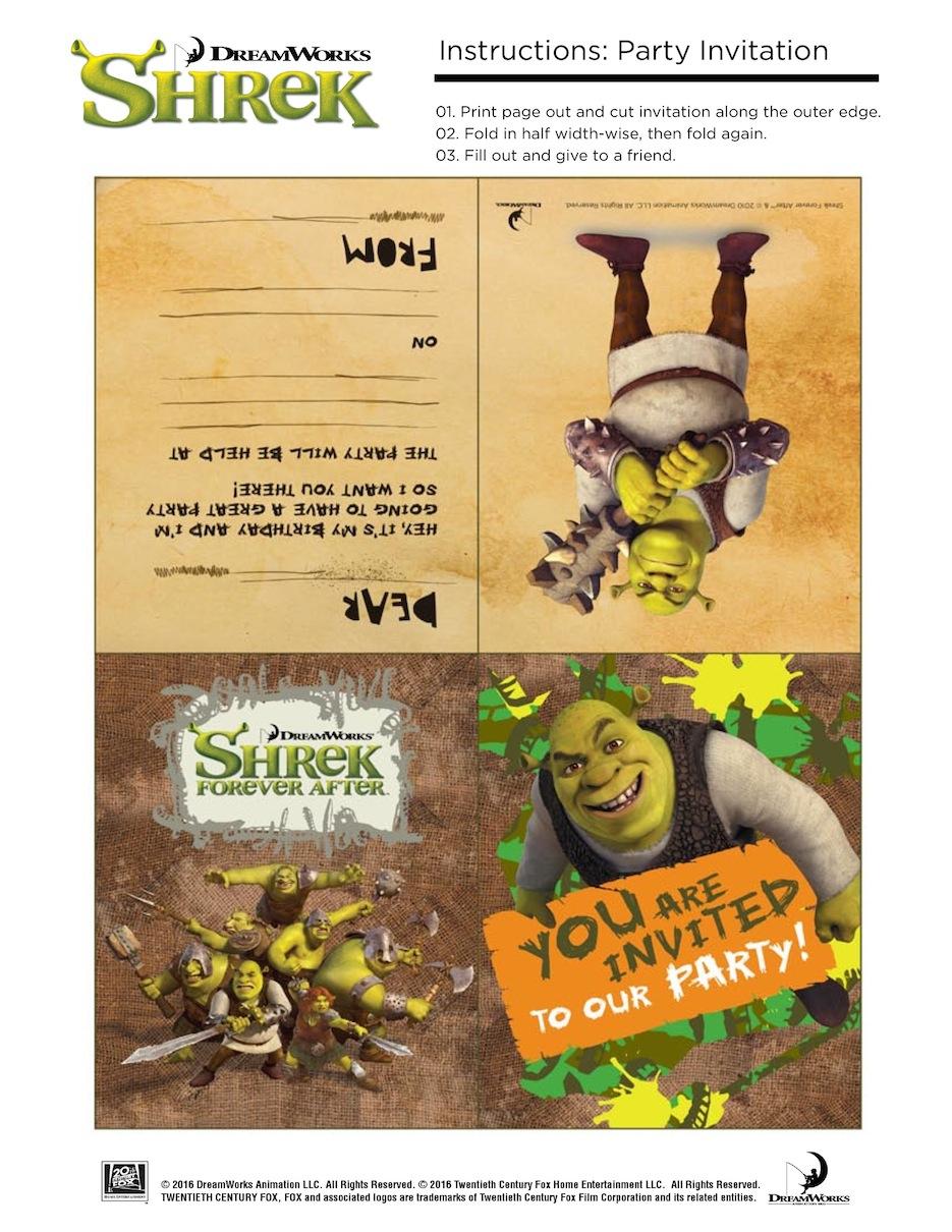10 Free Shrek Party Printable: Invitation, Games, Party Hat, Etc. - Free Printable Shrek Birthday Invitations
