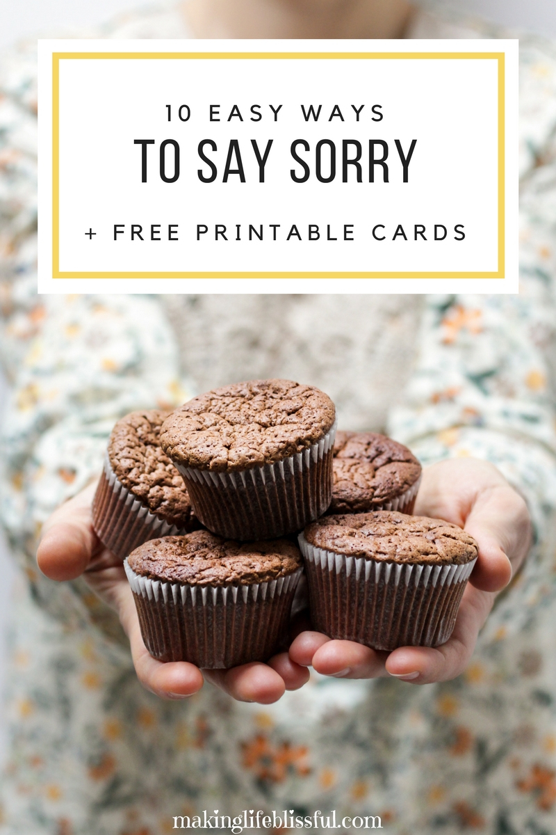 10 Ways To Apologize And Free Printable Cards | Making Life Blissful - Free Printable I Am Sorry Cards