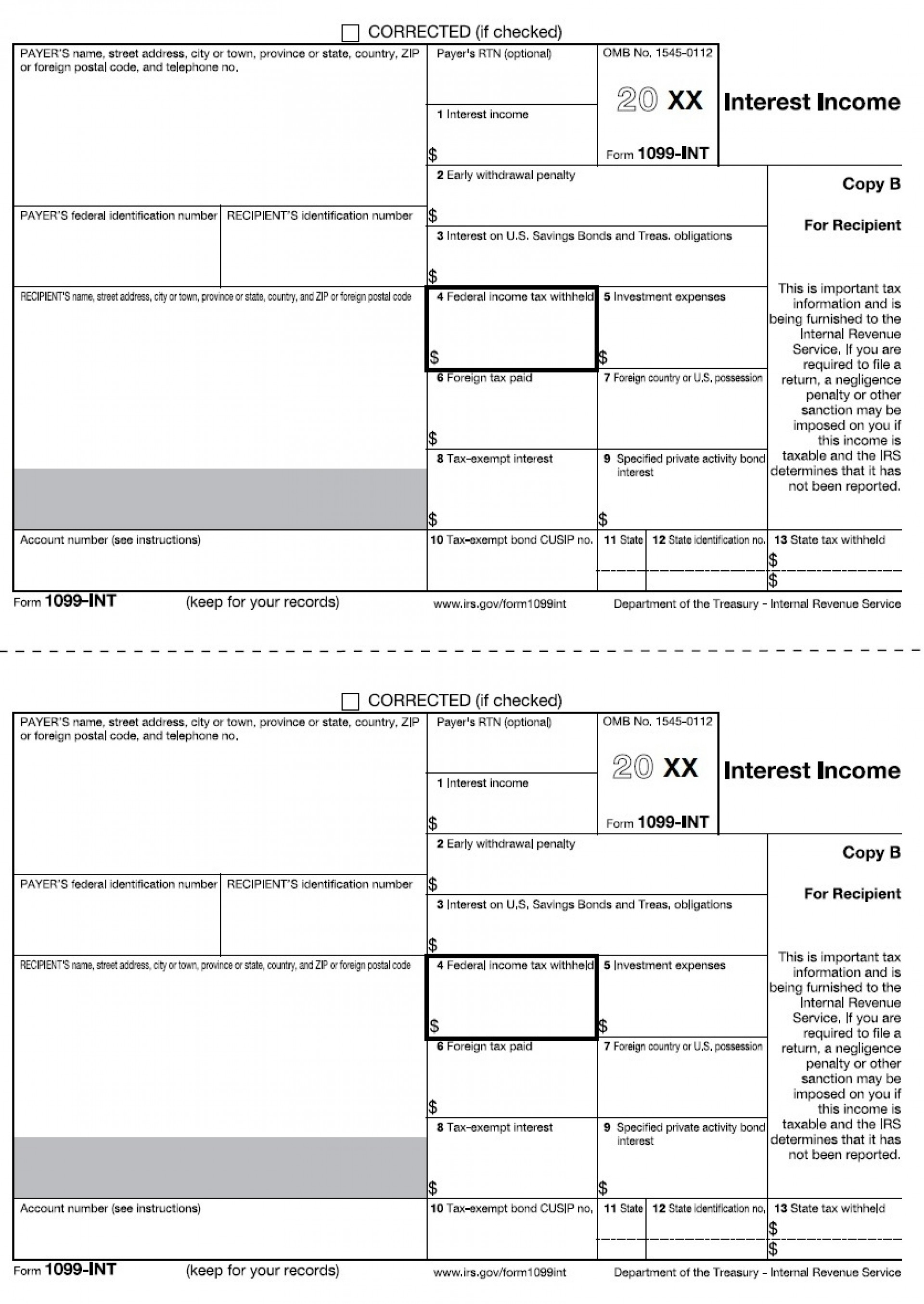 1099 Int Tax Form Printable | Papers And Forms - Free 1099 Form 2013 Printable