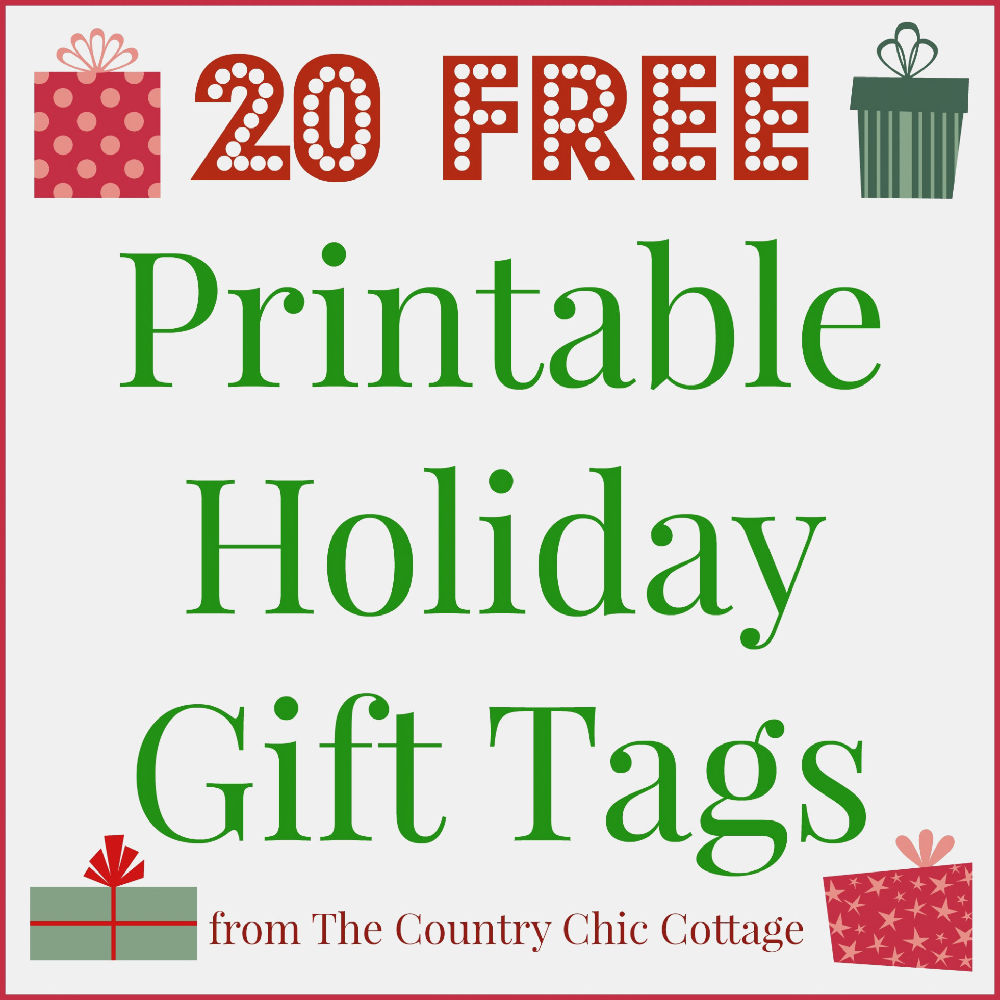 11 Printable Holiday Gift Tags (For Free!!) – The Country Chic - Free Online Gift Tags Printable