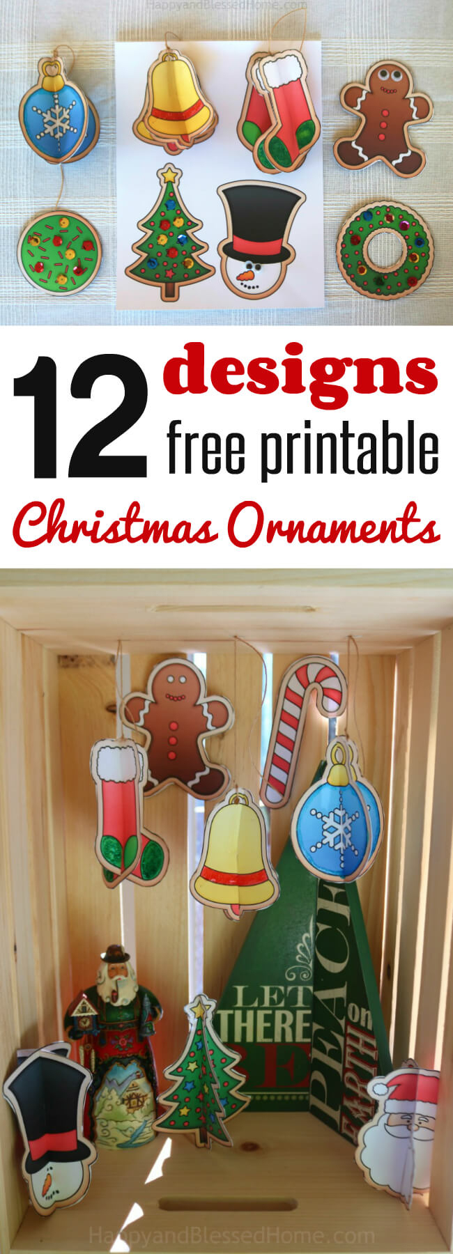 12 Free Christmas Ornaments Printables And A Christmas Craft - Free Printable Christmas Ornament Crafts