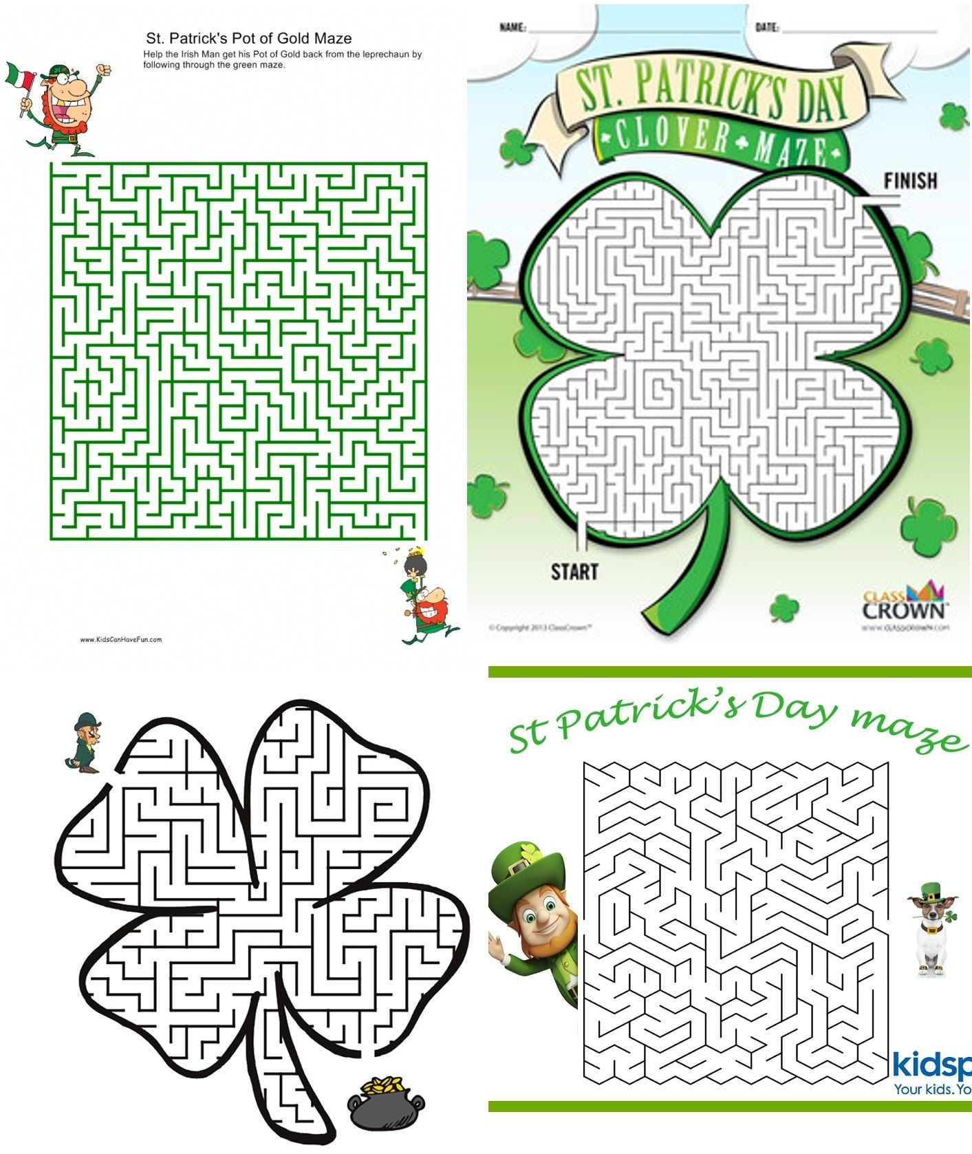 12 St. Patrick's Day Game Printables | Maze, Worksheets And Activities - Free Printable St Patrick's Day Mazes