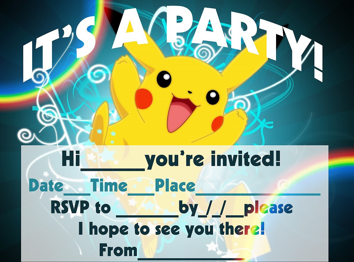 12 Superb Pokemon Birthday Invitations | Kittybabylove - Free Printable Pokemon Birthday Invitations