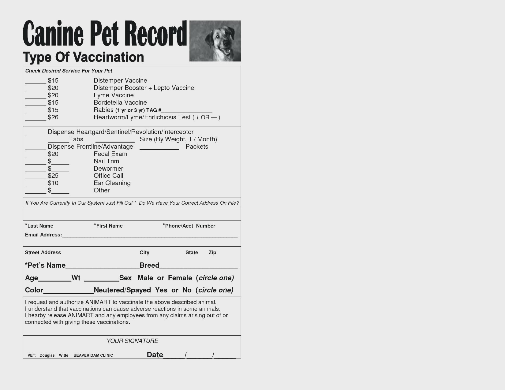 13. Dog Vaccination Chart Printable Template Pet Record Canine - Free Printable Dog Shot Records