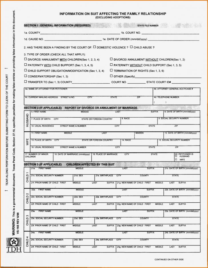 Free Printable Divorce Forms Texas