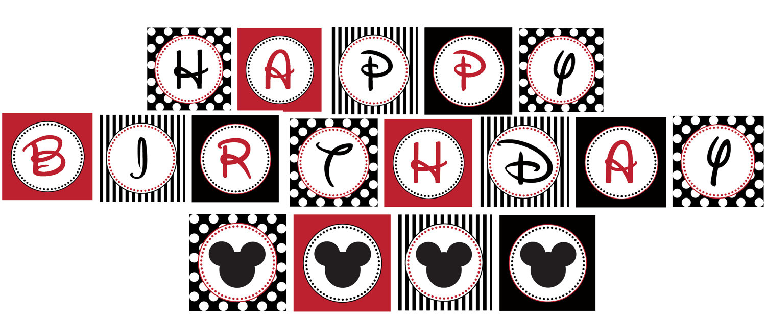 13 Printable Happy Birthday Mickey Mouse Font Images - Mickey Mouse - Free Printable Mickey Mouse Birthday Banner