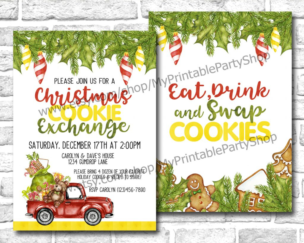 15 Christmas Cookie Exchange Party Invitations • Glitter 'n Spice - Free Christmas Cookie Exchange Printable Invitation