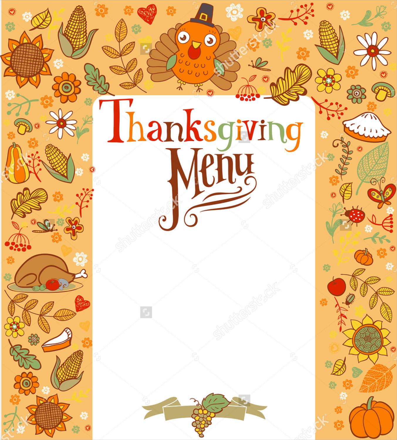 16+ Blank Menu Designs - Psd, Vector Format Download | Design Trends - Free Printable Thanksgiving Menu Template