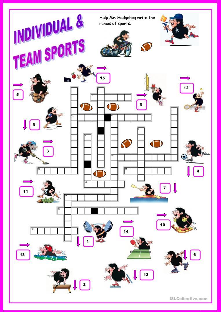 16 Free Esl Sports Crossword Worksheets - Free Printable Sports Crossword Puzzles