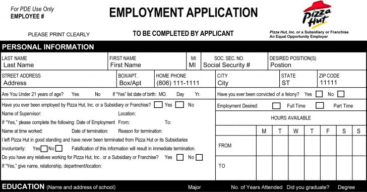 Free Printable Job Application Form Pdf