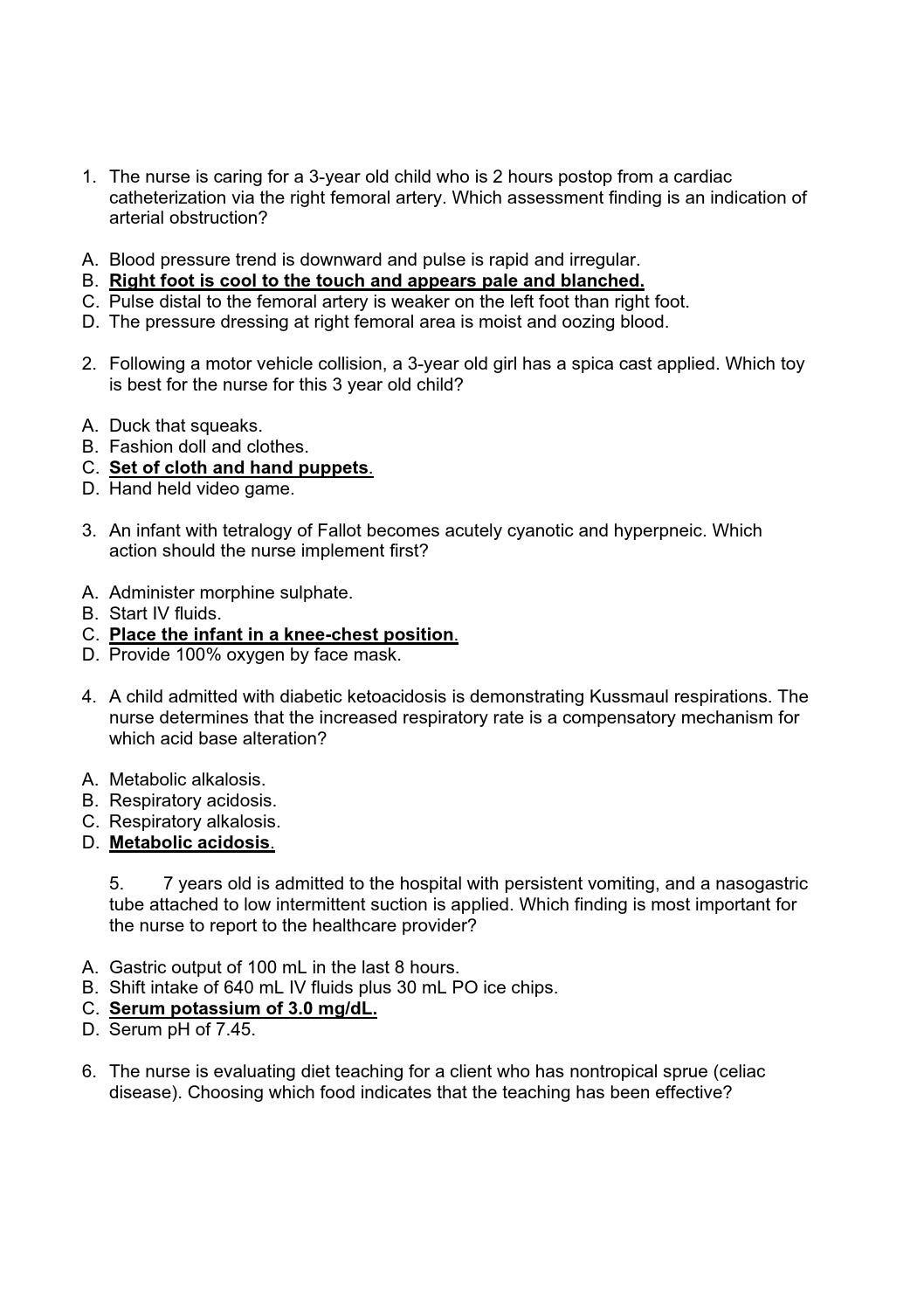 176013145 Hesi Pediatric Exam 55 Questions | Nurse | Pediatrics - Free Printable Hesi Study Guide