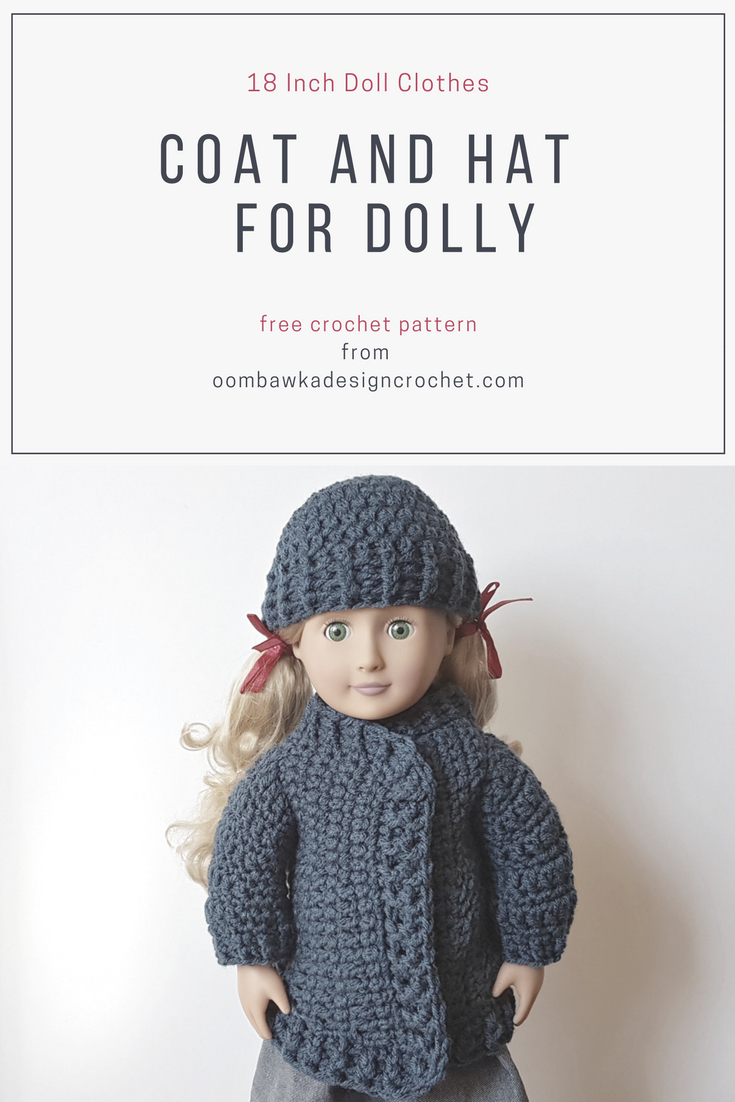 image about Free Printable 18 Inch Doll Clothes Patterns identify 18 Inch Doll Garments - Coat And Hat For Dolly - Free of charge
