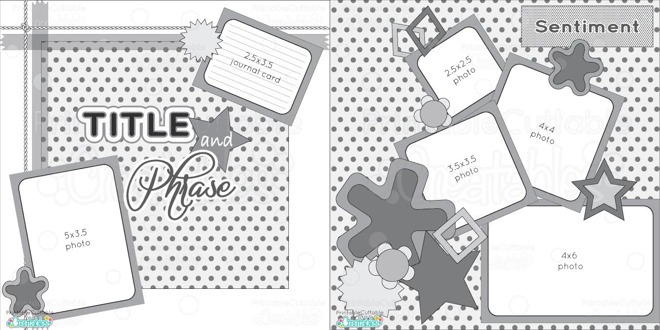 2 Page 12X12 Free Printable Scrapbook Sketch - Printable Cuttable - Free Printable Scrapbook Page Designs