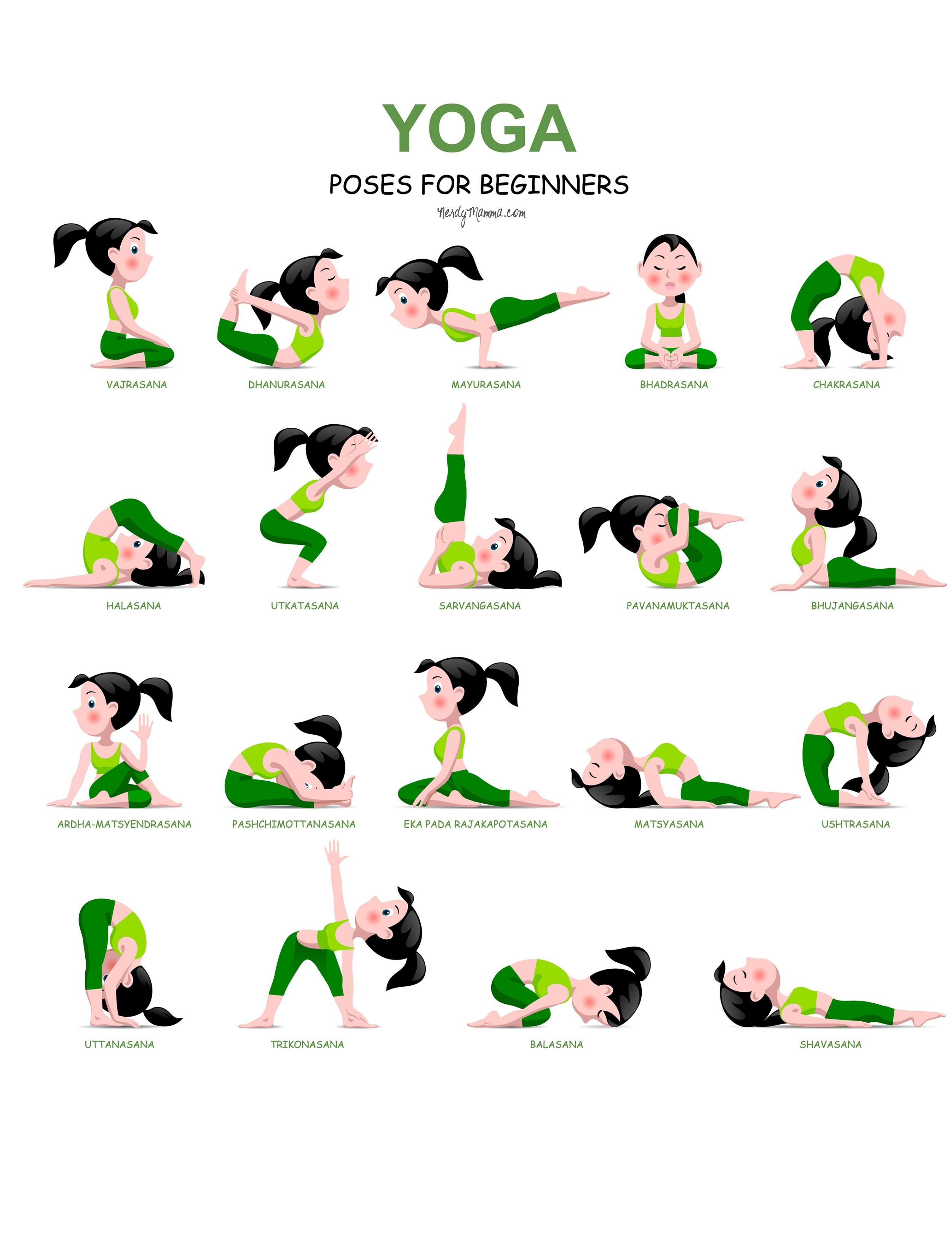 20 Easy Yoga Poses For Beginners With A Free Printable … | Yoga And - Free Printable Yoga Poses