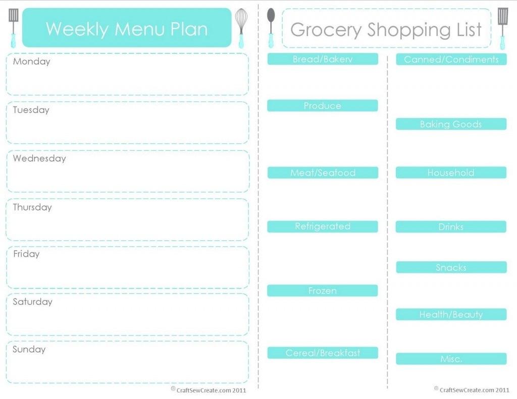 20 Free Menu Planner Printables | Fab N' Free Inside Free Printable - Free Printable Menu Planner
