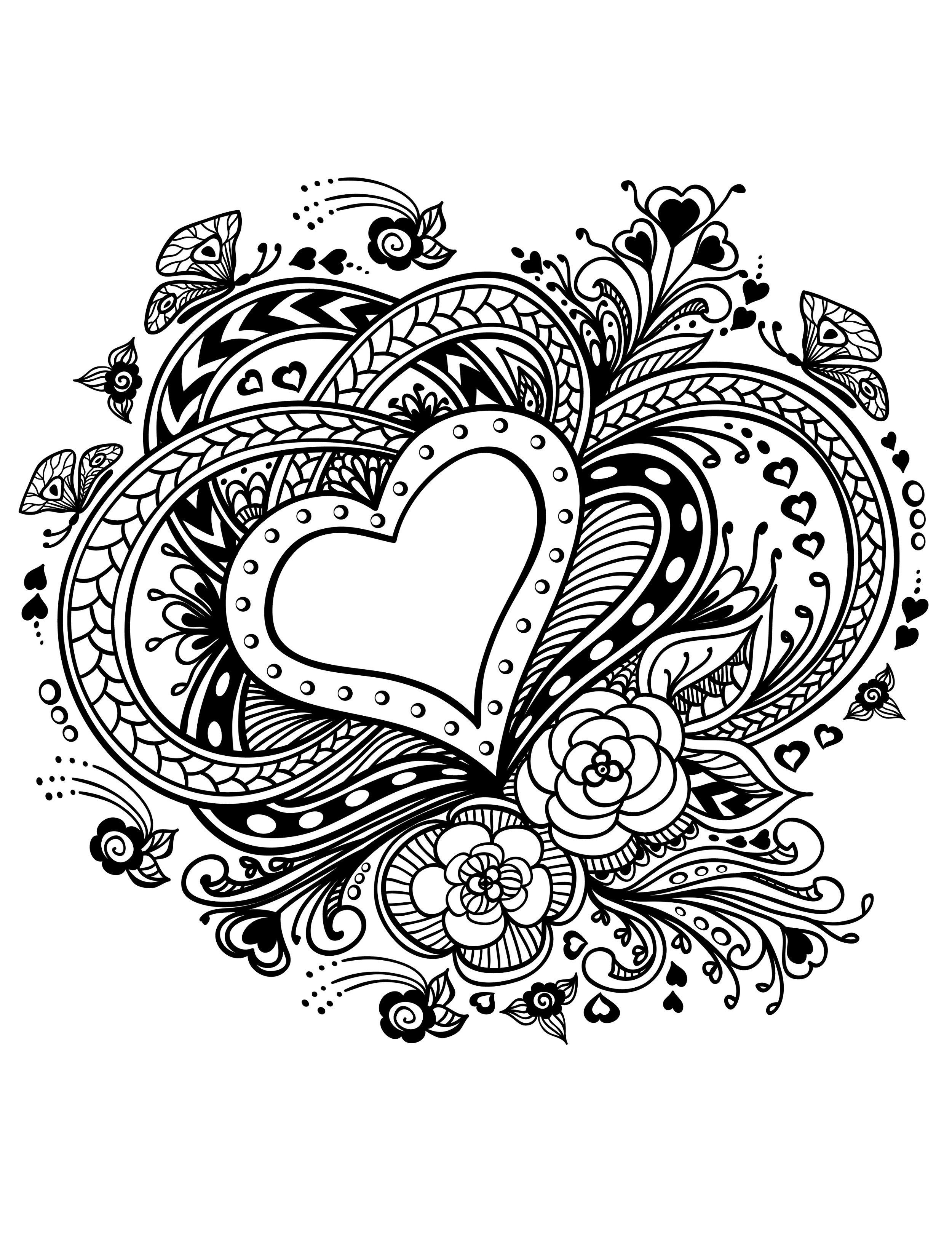 20 Free Printable Valentines Adult Coloring Pages | Coloring Pages - Free Printable Heart Coloring Pages