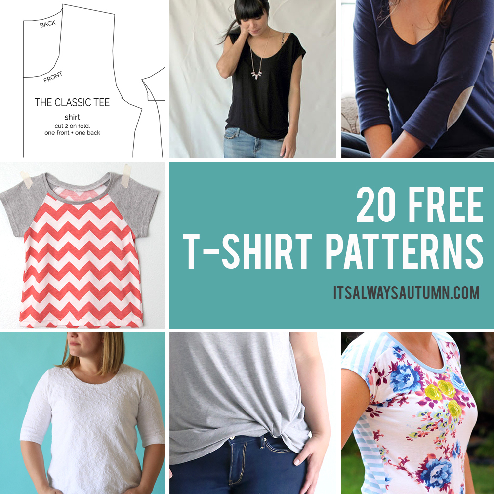 20 Free T-Shirt Patterns You Can Print + Sew At Home - It's Always - Free Printable Sewing Patterns For Kids