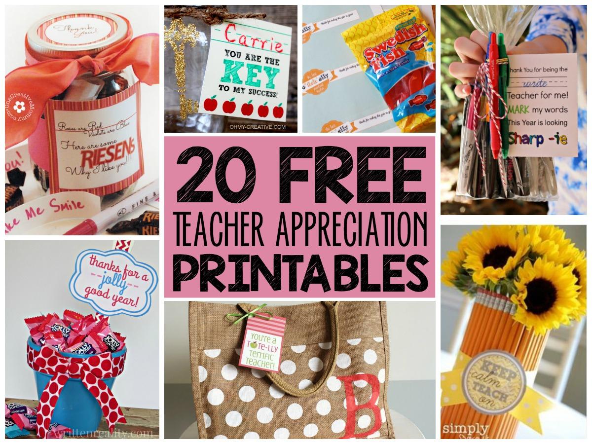 20 Free Teacher Appreciation Printables! - Free Teacher Appreciation Week Printable Cards