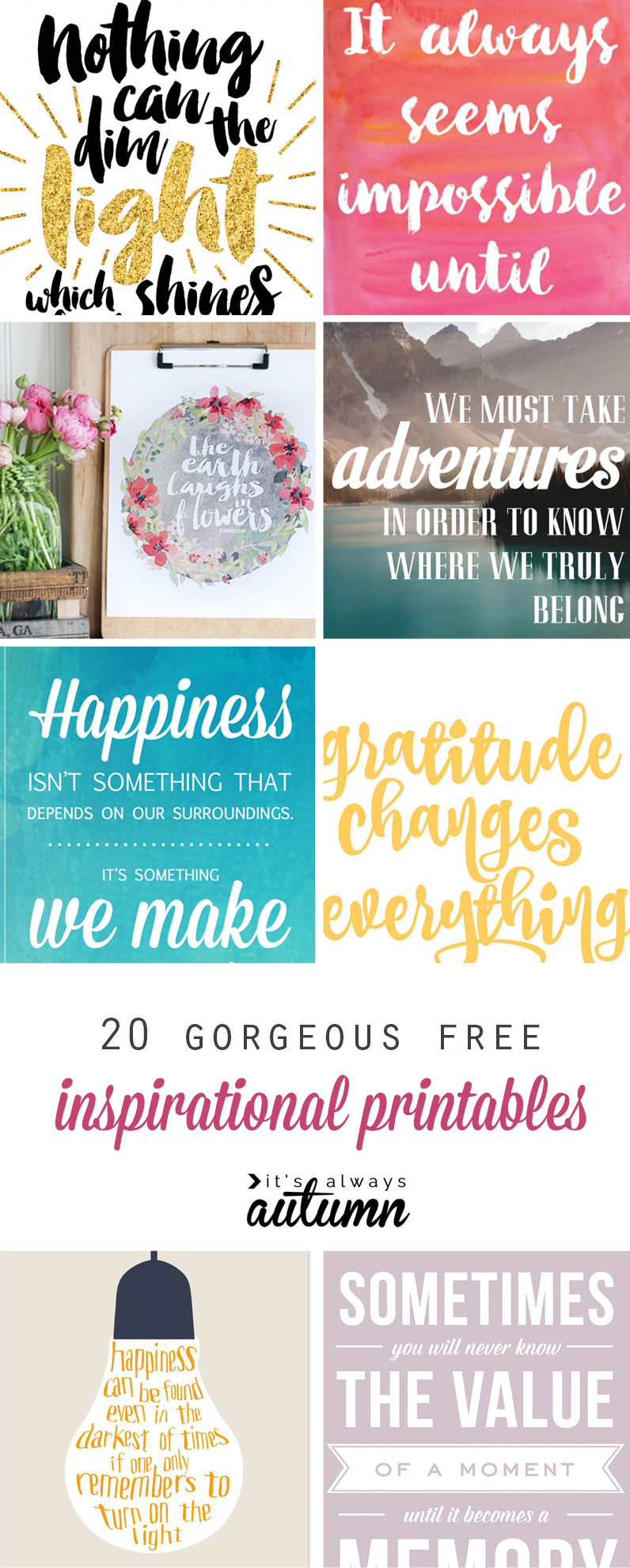 20 Gorgeous & Modern Free Inspirational Quote Printables - It's - Free Printable Wall Art Quotes