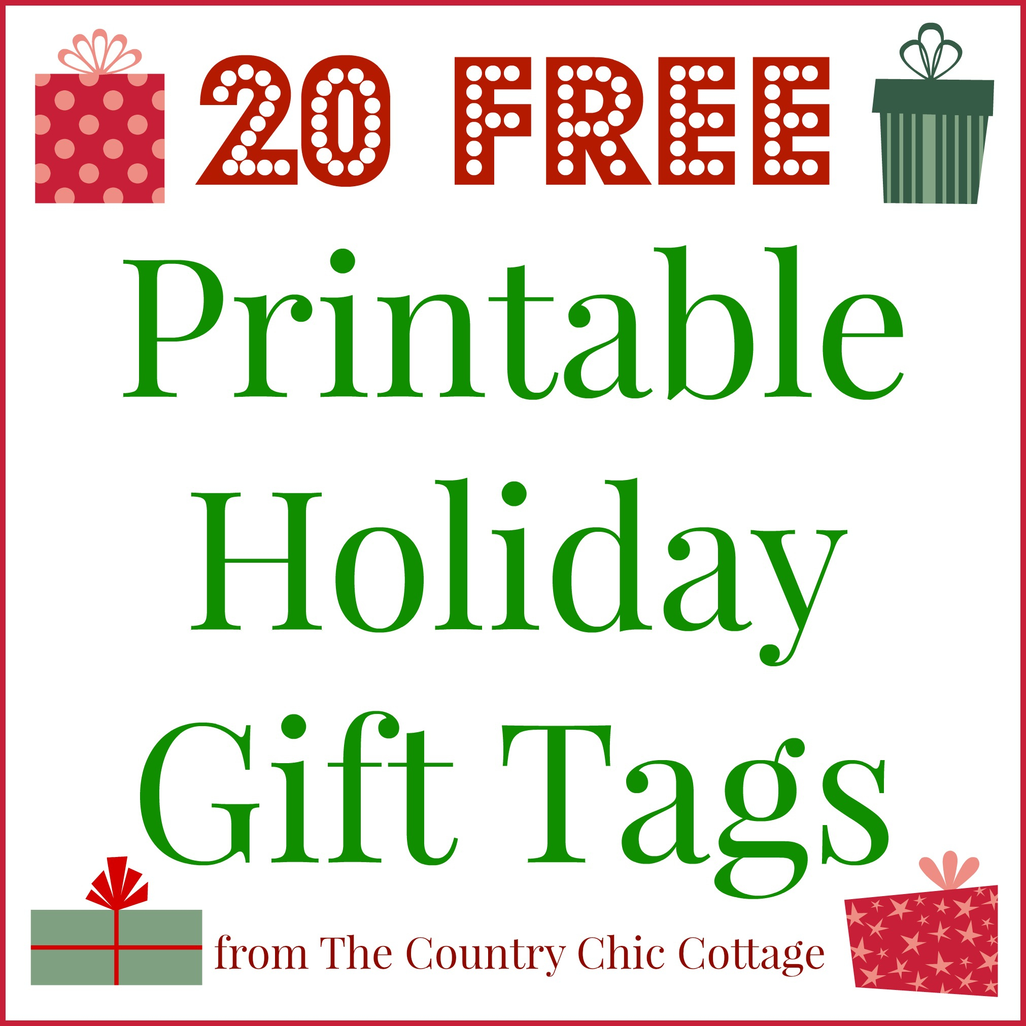 20 Printable Holiday Gift Tags (For Free!!) - The Country Chic Cottage - Free Printable Christmas Designs
