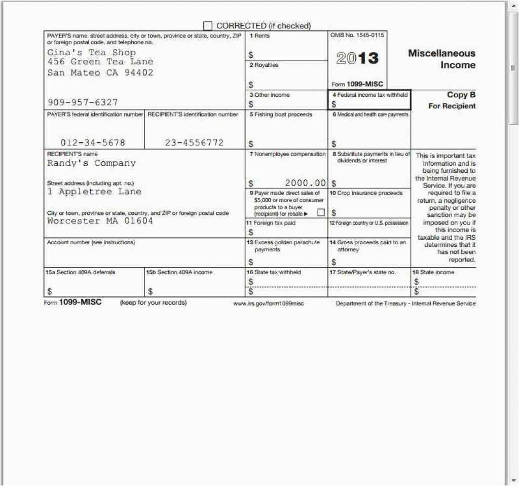 2013 1099 Form Ceriunicaasl Intended For Free Printable 1099 Misc - Free 1099 Form 2013 Printable