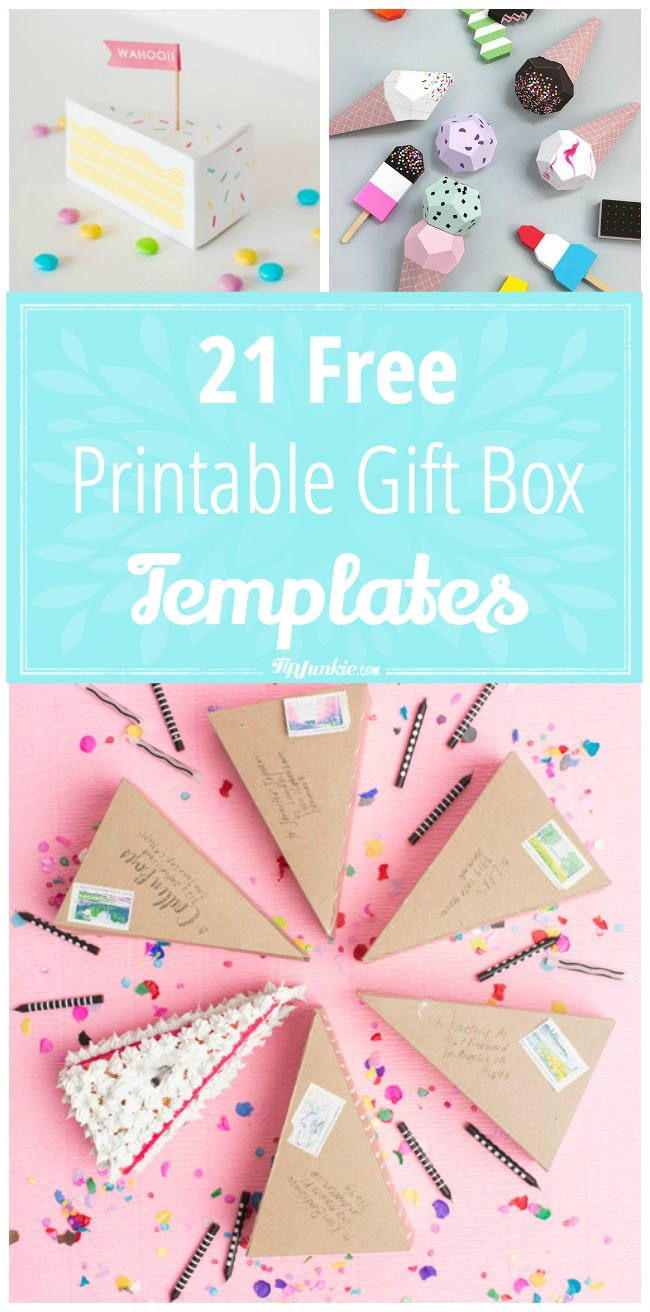 21 Free Printable Gift Box Templates – Tip Junkie - Box Templates Free Printable